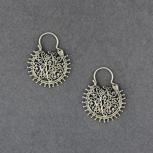 Sterling Silver Small Ornate Hoop Earrings
