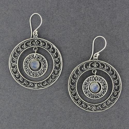 Rainbow Moonstone Ornate Double Hoop Earrings