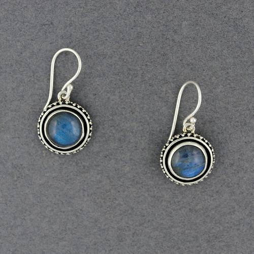 Labradorite Dotted Bezel Earrings