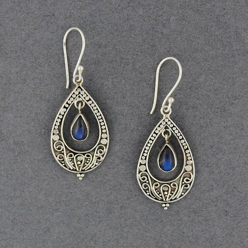 Labradorite Ornate Teardrop Earrings