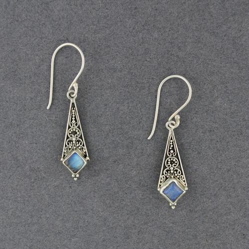 Rainbow Moonstone Diamond Drop Earrings