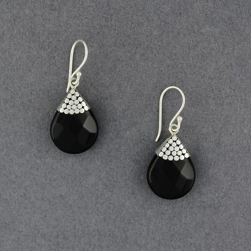 Onyx Dotted Teardrop Earrings