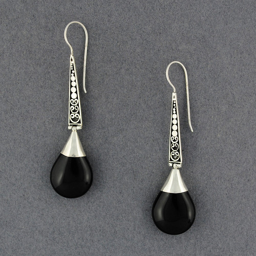 Onyx Long Teardrop Earrings