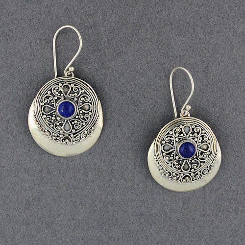 Lapis Ornate Circle Earrings