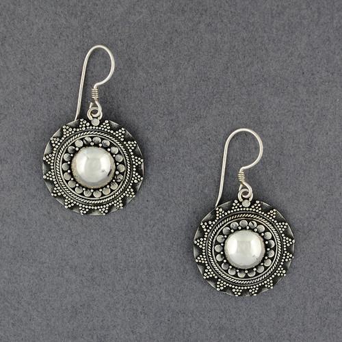 Sterling Silver Onate Circle Earrings