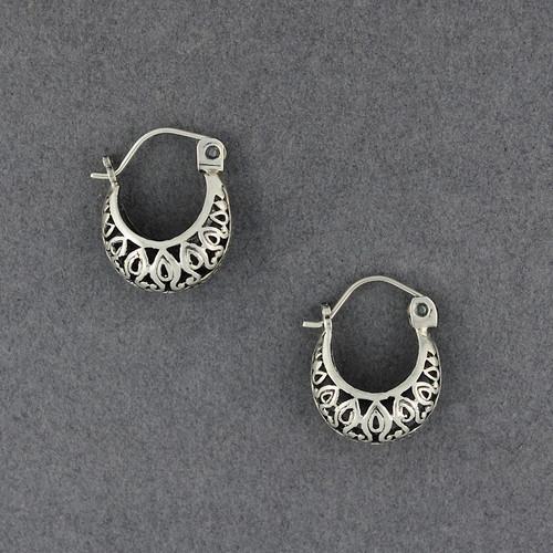 Sterling Silver Small Detailed Hoop Earrings