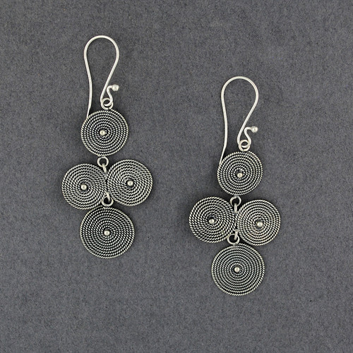 Sterling Silver Textured Circles Chandelier Earrings