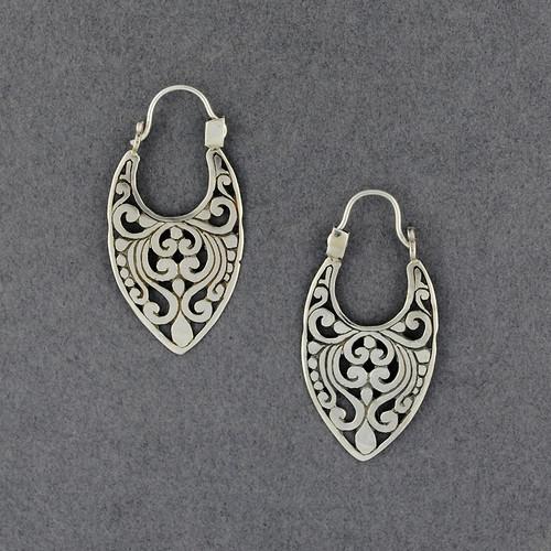 Sterling Silver Ornate Shield Hoop Earrings