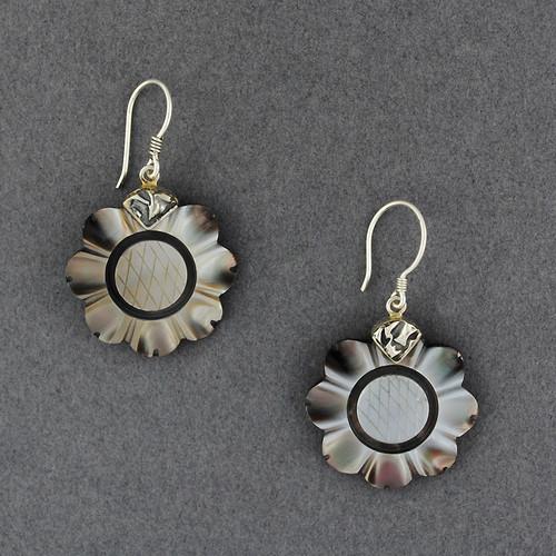 Black Mother of Pearl Flower Earrings
