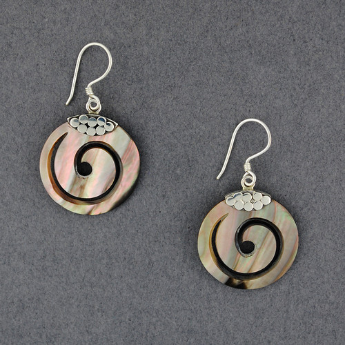 Black Mother of Pearl Small Dotted Spiral Earrings