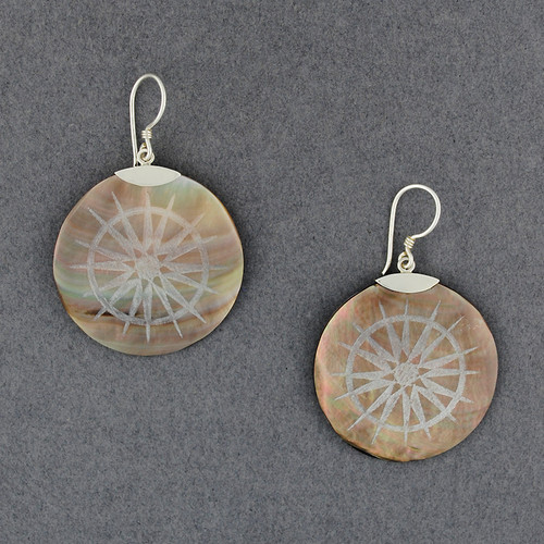 Black Mother of Pearl Compass Earrings