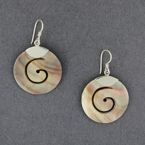Black Mother of Pearl Thick Spiral Earrings