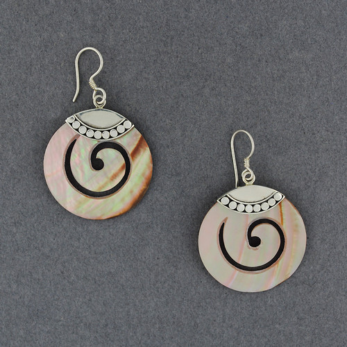 Pink Mother of Pearl Thick Spiral Earrings