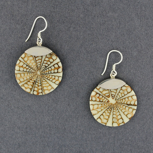 Brown and White Shell Inlay Earrings