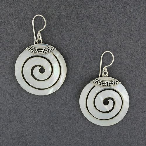 Mother of Pearl Dotted Spiral Earrings