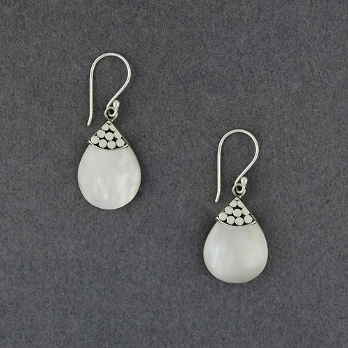 Mother of Pearl Dotted Small Teardrop Earrings