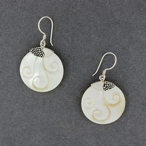 Mother of Pearl Carved Swirl Earrings