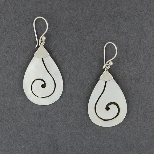 Mother of Pearl Cut Spiral Teardrop Earrings
