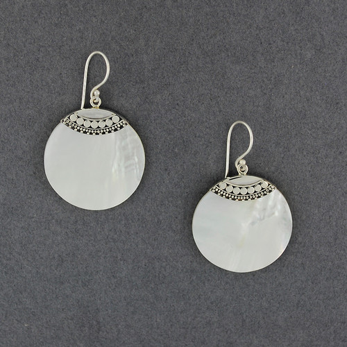 Mother of Pearl Multi Dots Circle Earrings