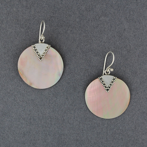 Pink Mother of Pearl Circle Earrings