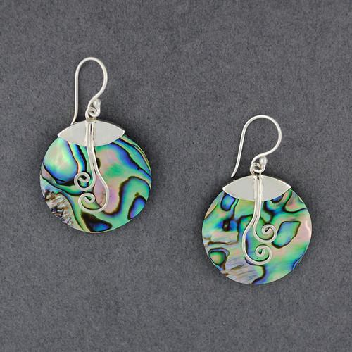 Abalone Swirl Circle Earrings