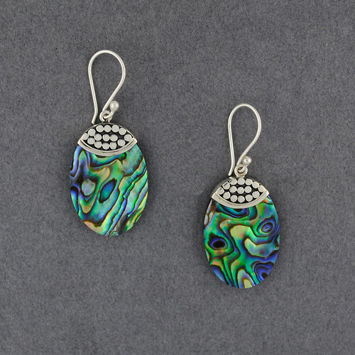 Abalone Small Dotted Oval Earrings