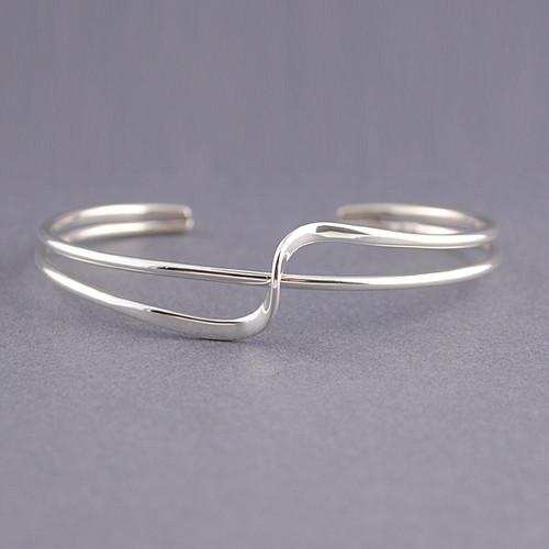 Sterling Silver Pierced Wave Cuff