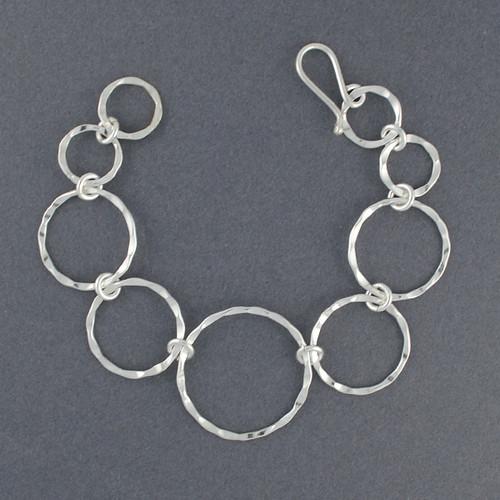 Sterling Silver Hammered Graduated Circle Link Bracelet