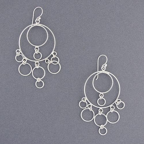 Sterling Silver Circle Chandelier Earrings