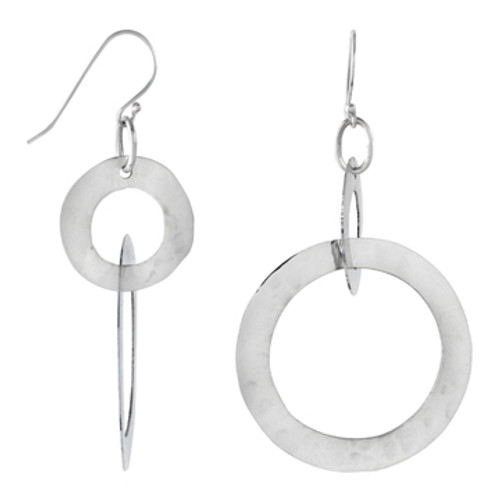 Sterling Silver Hammered Circles Earring