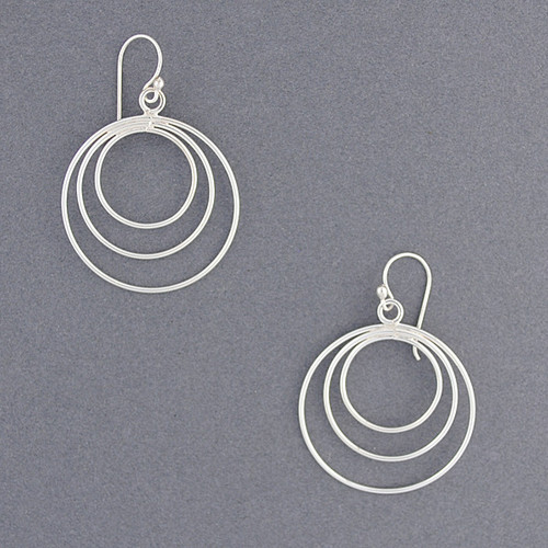 Sterling Silver Three Wire Circle Earrings