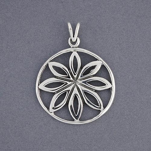 Sterling Silver Flower in Globe Pendant