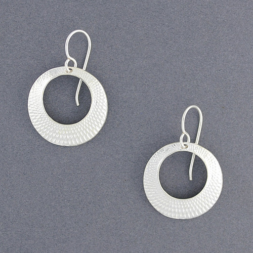 Sterling Silver Crosshatch Circle Earrings