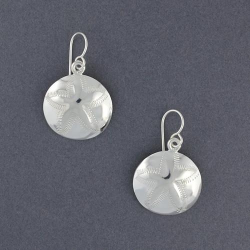 Sterling Silver Large Sand Dollar Earrings