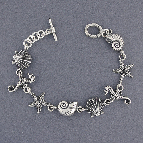 Sterling Silver Shell and Seahorse Bracelet