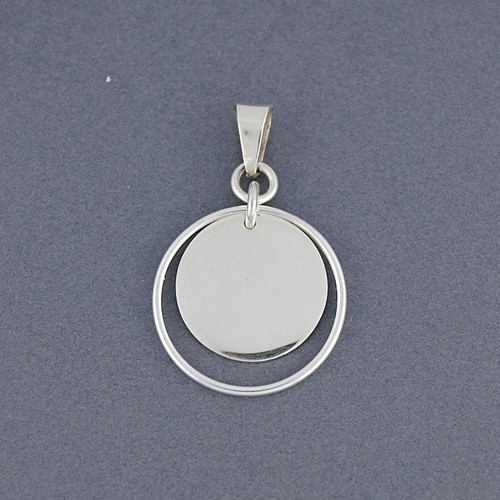 Sterling Silver Disc in Circle Pendant