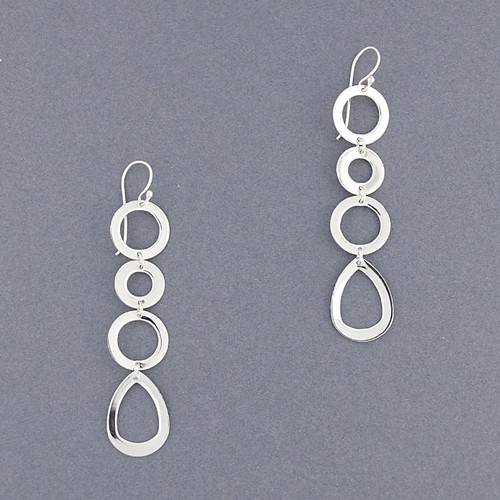 Sterling Silver Circles and Teardrop Dangle