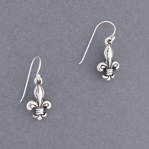 Sterling Silver Antique Fleur-de-lis Earring