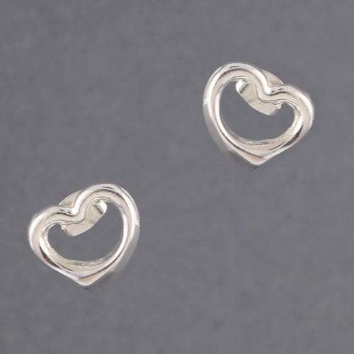Sterling Silver Open Heart Stud