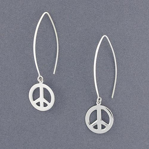 Sterling Silver Long Wire Peace Earrings