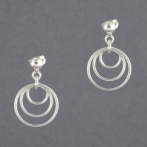 Sterling Silver Three Circles Earring