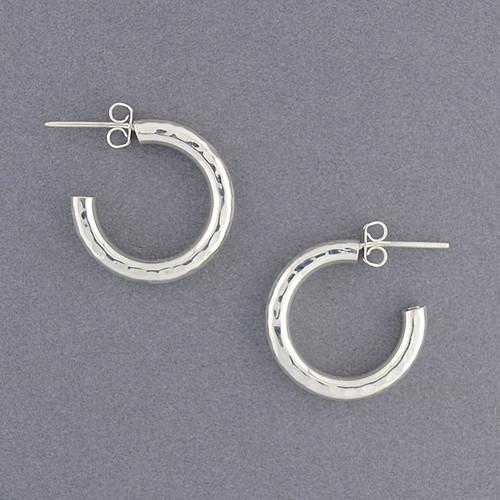 Sterling Silver Medium Hammered Hoop