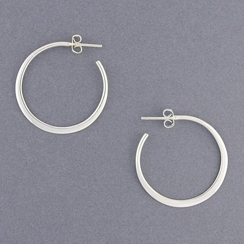 Sterling Silver Medium Flat Hoop