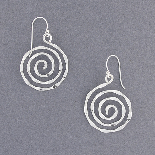 Sterling Silver Textured Spiral Earring