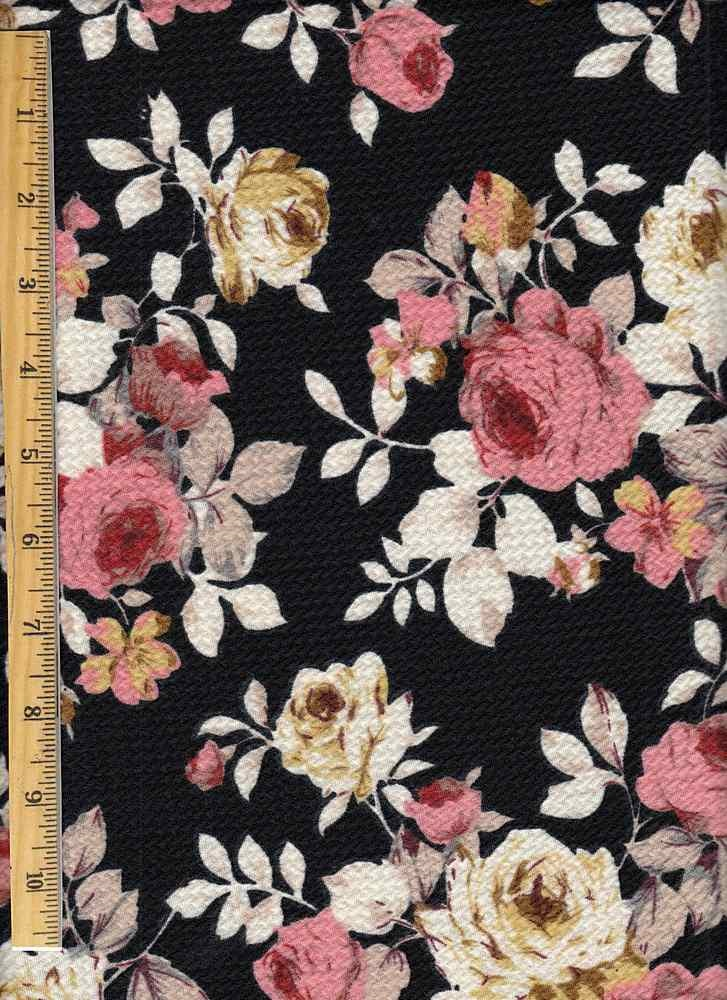 86975ea8f48 Black and Taupe Fabric   Floral Knit Bullet   Fabricsyard