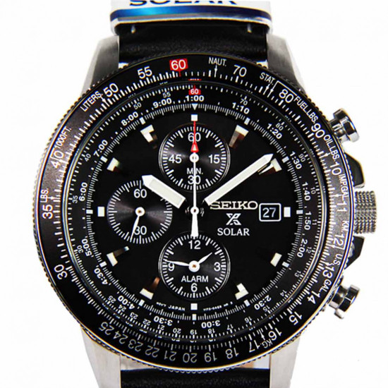 Seiko Solar SSC009P3 Chronograph Mens Flight Watch