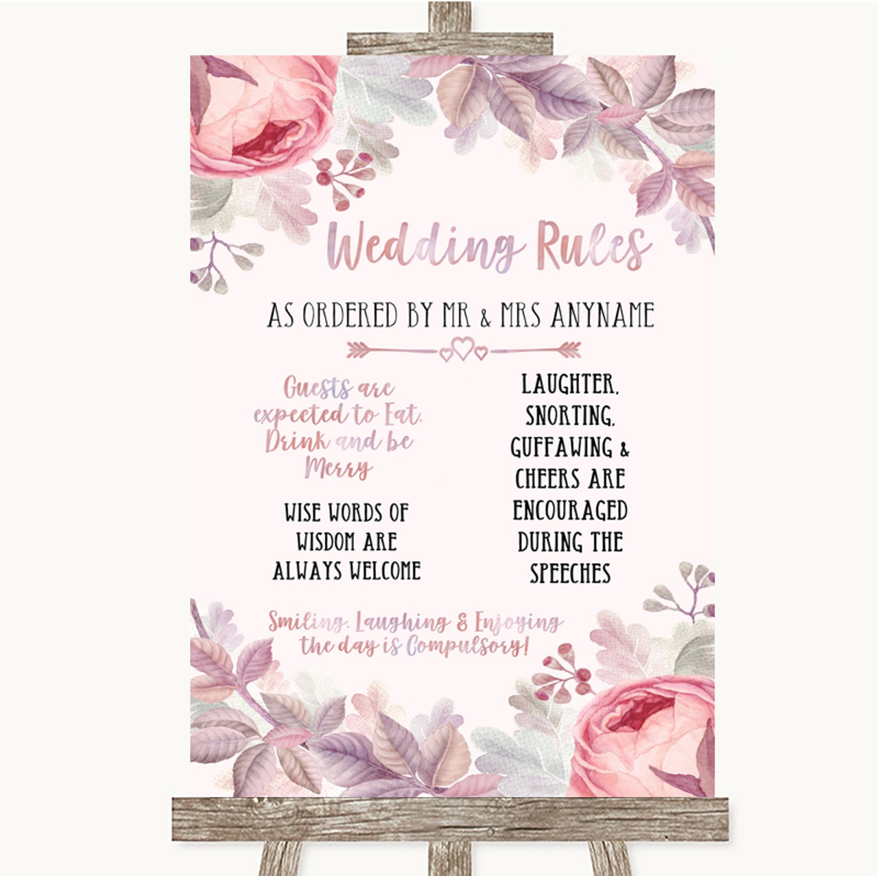 Wedding Sign Poster Print Blush Rose Gold /& Lilac Rules Of The Dance Floor
