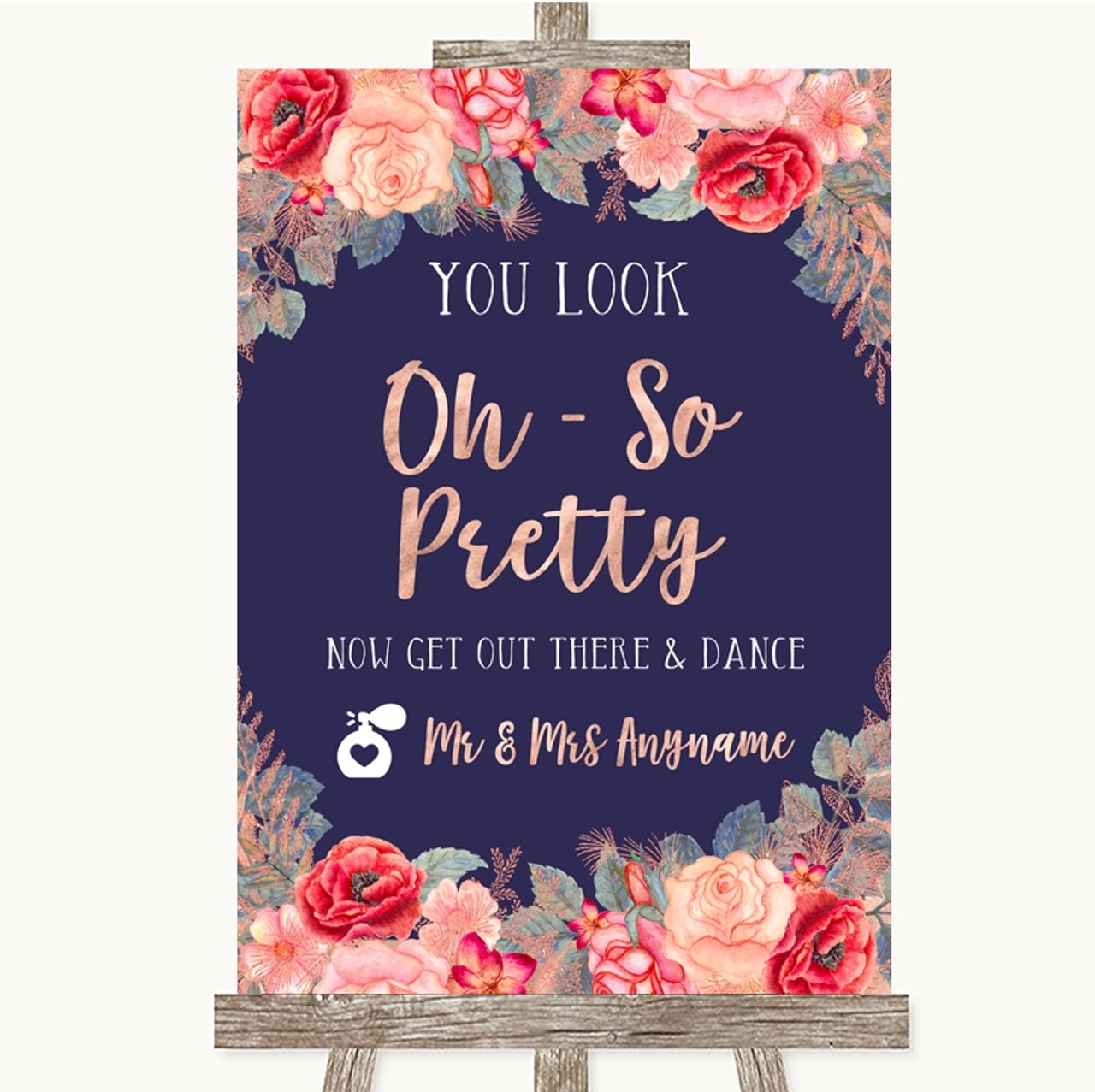 Navy Blue Pink /& Silver Pimp Your Prosecco Personalised Wedding Sign