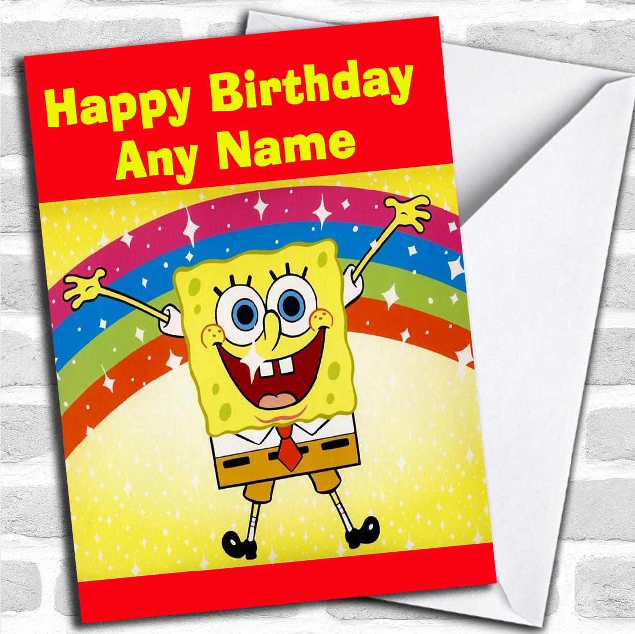 photograph about Printable Children's Birthday Cards named SpongeBob Squarepants Rainbow Tailored Childrens Birthday Card