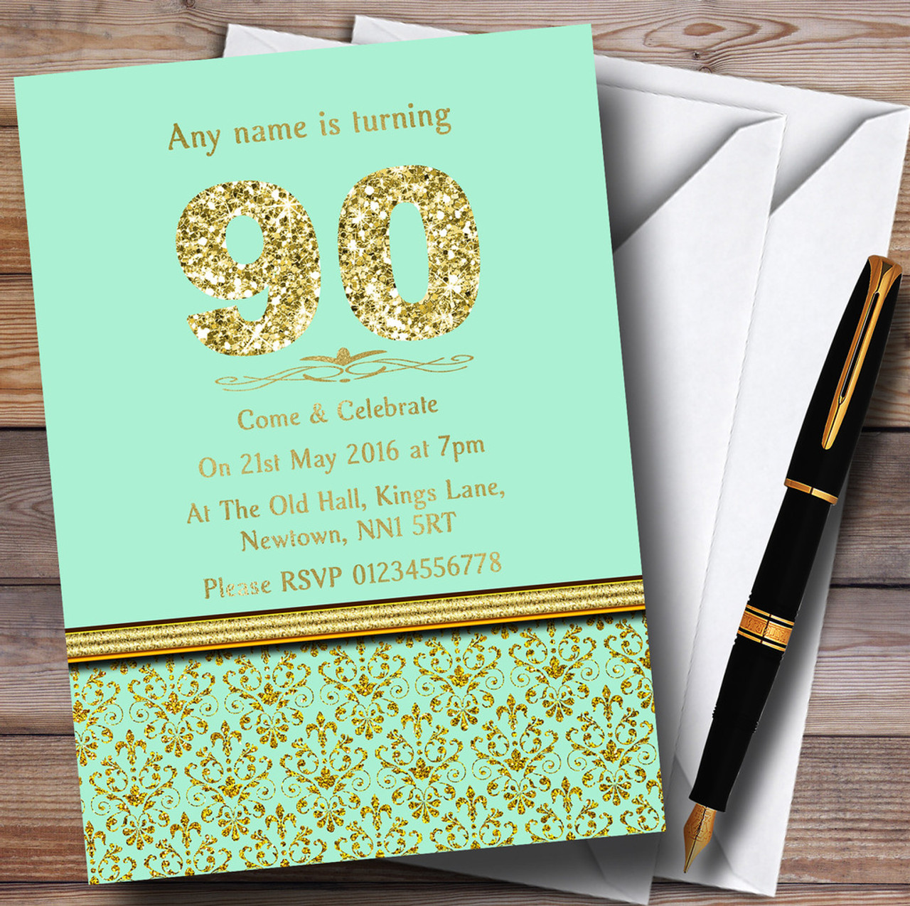 Mint Green & Gold Vintage Damask 90Th Personalized Birthday Party  Invitations - Red Heart Print